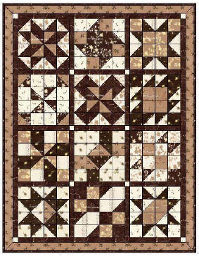 Cinnamon-teen Chocolate Figs & Roses 2006 BOM Quilt from BOMQuilts.com. An original sampler design of 16-patch squares made with a touch of cinnamon with chocolate, figs & roses – sure to be a delectable delight!